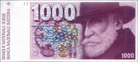 Купюра номиналом 1000 швейцарских франков 1976–1979 годов выпуска, на которой изображён Огюст Форель. Выведена из обращения 1 мая 2000 года
